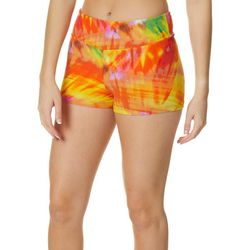 Hot Kiss Juniors Yellow Tie Dye Print Pull On Shorts