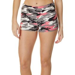 Juniors Pink Multi Camo Print Pull On Shorts