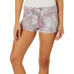 Hot Kiss Juniors Snakeskin Print Pull On Shorts