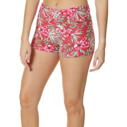 Hot Kiss Juniors Tropical Floral Pink Pull On Shorts