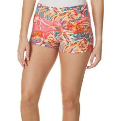 Hot Kiss Juniors Pink Tropical Floral Pull On Shorts