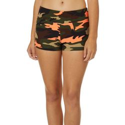 Hot Kiss Juniors Orange & Green Camo Print Pull On Shorts