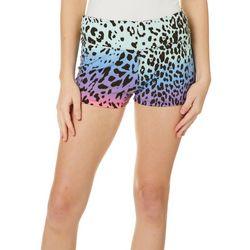 Hot Kiss Juniors Rainbow Leopard Print Pull On Shorts
