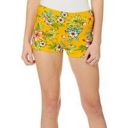 Hot Kiss Juniors Tropical Hibiscus Print Pull On Shorts