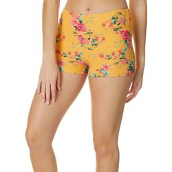 Juniors Floral Pattern Pull On Shorts