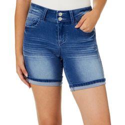Hot Kiss Juniors Solid Faded Roll Cuff Bermuda Shorts