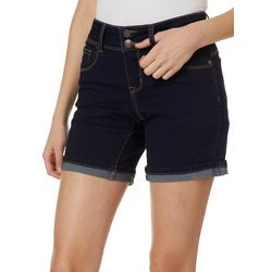 Hot Kiss Juniors Solid Faded Roll Cuff Bermuda Shorts