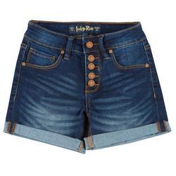 Juniors Button Fly Cuffed Denim Shorts