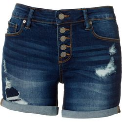 Indigo Rein Juniors Ripped Denim Cuff Shorts