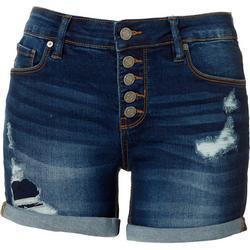 Juniors Ripped Denim Cuff Shorts