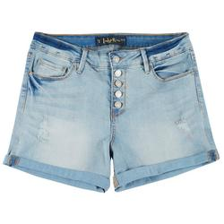 Juniors Button Fly Cuffed Shorts