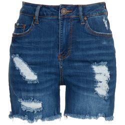Indigo Rein Juniors Ripped Dark Wash Shorts