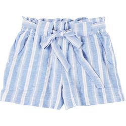 Indigo Rein Juniors Striped Tie Waist Fabric Shorts