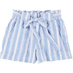 Juniors Striped Tie Waist Fabric Shorts