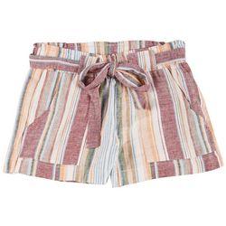 Indigo Rein Juniors Multi Stripes Linen Shorts
