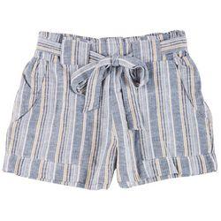 Indigo Rein Juniors Assymetric Striped Tie Waist Shorts