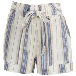 Indigo Rein Juniors Striped Paperbag High Rise Shorts