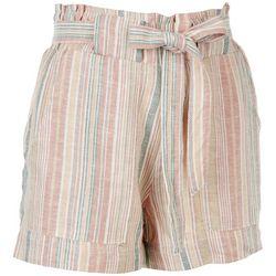 Indigo Rein Juniors Striped Tie Waist Linen Shorts