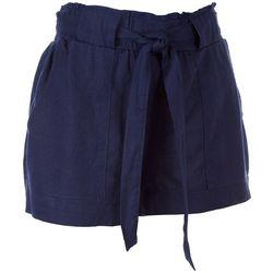 Indigo Rein Juniors Solid Tie Waist Linen Shorts