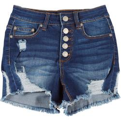 Juniors Button Fly Distressed Shorts