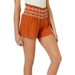Juniors Solid Smocked Waist Shorts