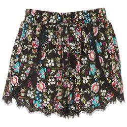 Lily White Juniors Lace Hem Floral Shorts