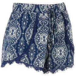 Lily White Juniors Lace Hem Arabesque Shorts
