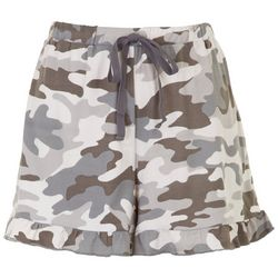 Lily White Juniors Camouflage Ruffled Shorts