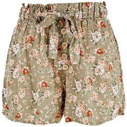 No Comment Juniors Elastic Waist Floral Shorts