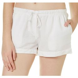 Derek Heart Juniors Cuffed Solid Linen Shorts