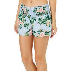 Derek Heart Juniors Striped Tropical Floral Soft Shorts