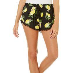 Derek Heart Juniors Lemon Print Pom Pom Soft Shorts