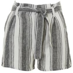 Eyeshadow Juniors Belted Paperbag Shorts