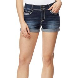 Wallflower Juniors Americana Star Embroidered Denim Shorts