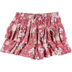 Wallflower Juniors Floral Ruffle Layer Shorts