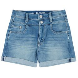 Juniors Double Button High Waist Cuffed Shorts
