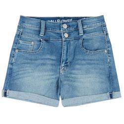 Juniors Double Button High Waist Cuffed Shorts