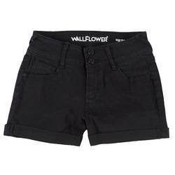 Juniors Shorty Short Mid-Rise Black Shorts