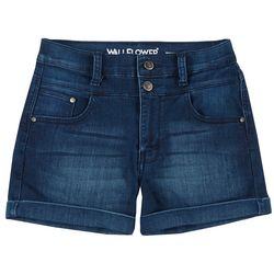 Wallflower Juniors Double Button High Waist Denim Shorts