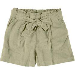 Wallflower Juniors Paperbag Solid Linen Shorts
