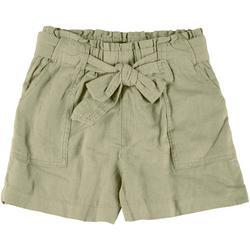 Juniors Paperbag Solid Linen Shorts