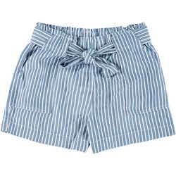 Wallflower Juniors Paperbag Striped Linen Shorts