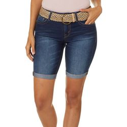 Wallflower Juniors Belted Roll Cuff Hem Denim Bermuda Shorts