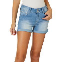 Juniors Curvy Fit Bling Pocket Denim Shorts