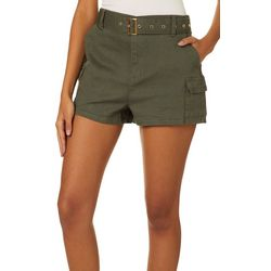 Almost Famous Juniors High Waisted Soild Belted Shorts
