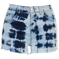 Almost Famous Juniors Acid Washed Ripped Shorts