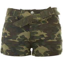 Almost Famous Camo Denim Shorts With Tie Around Waist