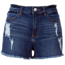 Almost Famous High-Rise Solid Denim Distressed Shorts