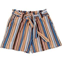 Big Girls Thin Stripe Paperbag Shorts