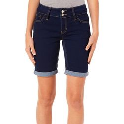 Blue Desire Juniors Double Button Solid Bermuda Shorts